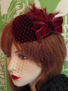 Vintage 1940s Style Hat Fascinator Veil Dress Hat Claret Velvet Wedding Races | eBay