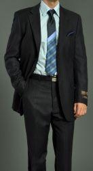 Men's Two Button Black Striped Suit