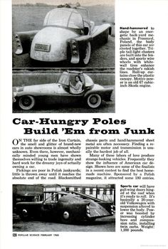 Homemade cars from Poland circa 1960
