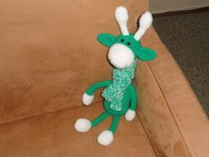 een groene giraf met das voor mijn kleinzoon in Holten.