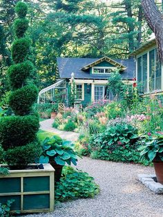 Enjoy Informality  Play up casual elements if you have a cottage-style home. Meandering paths, lush plantings, and bit of whimsy all contribute to a relaxed, cottage theme.