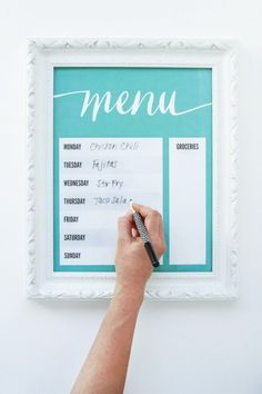 Download this free printable for a Dry Erase Menu board via @PagingSupermom