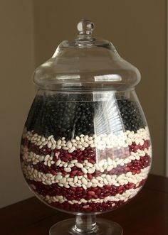 Do you have an empty jar lying around? Make it festive with 3 different beans #DIY #savethisbuythat #july4th