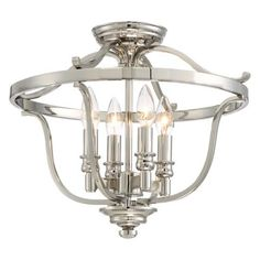 Audrey's Point - 4 Light Semi Flush - 4 Light Semi Flush in Polished Nickel w/Clear Glass