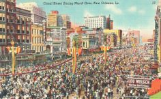 Postcard view of Mardi Gras in New Orleans, mid-20th century.