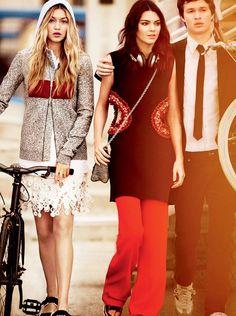Gigi Hadid,Kendall Jenner y Ansel Elgort -Mario Testino para Vogue