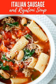 Italian Sausage and Rigatoni Soup is a quick soup recipe that& super easy to make! The post Italian Sausage and Rigatoni Soup is a quick soup recipe that& super easy recipe & appeared first on TODAYS MENU. Quick Soup Recipes, Quick And Easy Soup, Healthy Recipes, Diet Recipes, Baking Recipes, Game Recipes, Vegetarian Recipes, Sauce Pizza, Menu