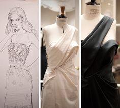 Les différentes étapes de création d'une robe de l'atelier flou.