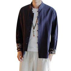 b5d3c15e327 Stitching Vintage Pccket Long Sleeve Linen Shirt for Men