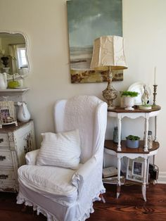 Absolutely beautiful cottage home tour at Arbor House Lane. Cottage Living Rooms, Cottage Homes, Wingback Chair, House Tours, Accent Chairs, Pillows, Kitchen, Furniture, Search
