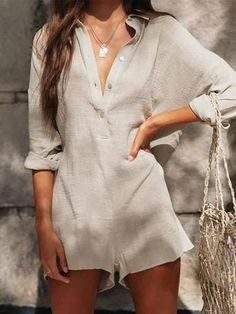 V-Neck Linen Refreshing Jumpsuit Shorts summer rompers rompers women rompers womens jumpsuit rompers pants rompers for teens boho rompers rompers modest casual rompers rompers women cute rompers Jumpsuit Casual, Jumpsuit Outfit, Short Jumpsuit, Summer Jumpsuit, Elegant Jumpsuit, Silk Jumpsuit, Summer Romper, Dress Casual, Overall Shorts