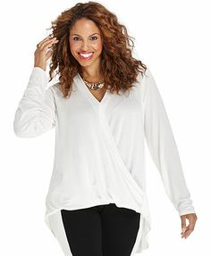 ING Plus Size Top, Long-Sleeve Faux-Wrap High-Low