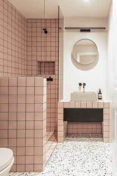 Bathroom design by Yellow Cloud Studio featuring Terra Concrete Basin by Kast. A striking combination of materials, colour and striking grid pattern tile layout. Bad Inspiration, Bathroom Inspiration, Interior Inspiration, Tile Layout, Layout Design, Design Ideas, Modern Bathroom, Small Bathroom, Bathroom Ideas