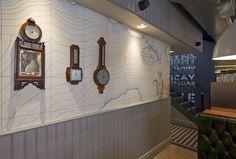 map wallpaper, barometer, George's fish & chip Kitchen, Nottingham