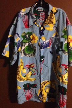 Koman Sport Colorful Koi Fish Men's Button Down Shirt Size XXL #Koman #ButtonFront