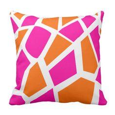 Funky Hot Pink Orange Giraffe Print Girly Pattern Throw Pillow