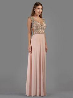 Βραδινό μακρύ φόρεμα με κέντημα στο μπούστο και άνοιγμα στην πλάτη - Βραδυνά Φορέματα
