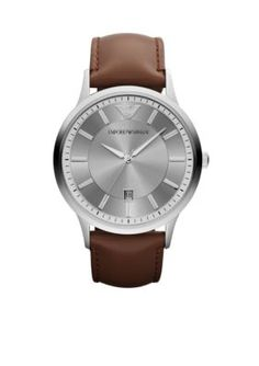 ec2e6ac08de Emporio Armani Men s Men s Brown Leather And Silver-Tone Stainless Steel  Three-Hand Watch