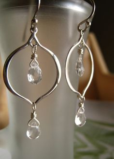 Lotus white topaz sterling silver dangle by KahiliCreations