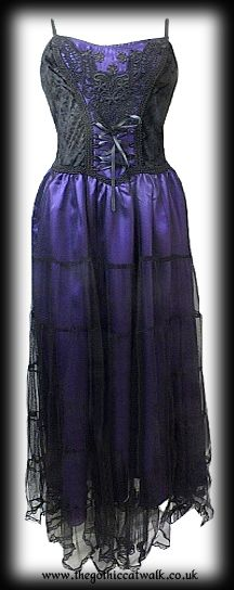 Long Velvet Silk & Mesh Gothic Dress - Purple
