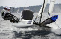 Médaillés d'argent à la Sailing World Cup 2014, Billy Besson et Marie Riou ! Bravo #Nacra17 by Y Zedda | www.scanvoile.com