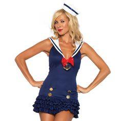 Disfraz de Marinera dulce talla M/L    Leg Avenue Sweetheart sailor woman costume    Deja aparte la suciedad de alta mar y seduce a todos los marineros con este vestido azul marino con falda de volantes y detalle de ancla en el escote. Incluye además, el mini gorrito de marinera