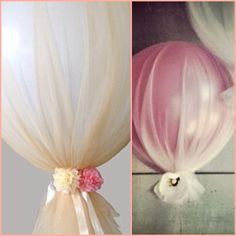 Love the elegant look and feel of tule and balloon. Definetly want to Incorporate into my decor;