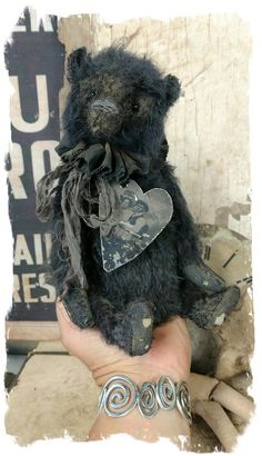 """handmade by artist Wendy Meagher === Approx. 9"""" tall - Antique Classic Style well loved BLACK long hair mohair teddy bear with aged black ruff..."""
