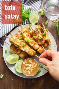 This flavor-packed vegan satay is made with skewered tofu cubes that are soaked in zesty lemongrass marinade, baked and served with luscious peanut dipping sauce! A delicious Thai inspired main dish that's easy to make and a crowd-pleaser! Easy Vegan Dinner, Vegan Dinner Recipes, Delicious Vegan Recipes, Vegan Snacks, Vegan Lunches, Vegan Meals, Vegan Food, Vegetarian Recipes, Peanut Dipping Sauces