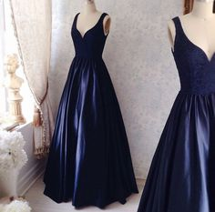 Lace Navy Blue Soft Lace Long Sleeves Mermaid Evening Gown With High Neck by dresses, $144.99 USD