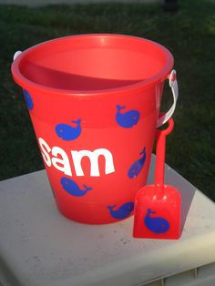 Personalized Sand Beach Bucket Pail by Tootlebugs on Etsy, $10.00