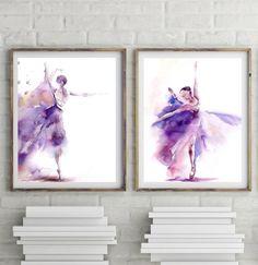 Ballerina art print set Wall Art Prints Set of 2 Watercolor
