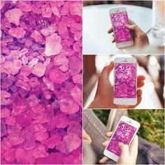 Pink Crystals Lockscreen iPhone 6 Wallpaper