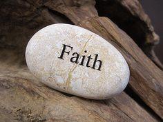 Engraved Beach Pebble Message Stone - Faith  http://Awesomestones.com