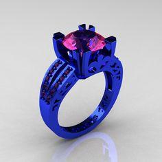 Modern Vintage 14K Blue Gold 3.0 Carat Pink Sapphire Designer Solitaire Ring…