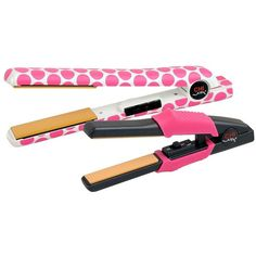 "CHI 1"" Flat Iron with Free Mini-Straightener, Target Exclusive ($100) ❤ liked on Polyvore featuring beauty products, haircare, hair styling tools, blow dryers & irons, hair care, pink dot, styling iron, flat iron, straight iron and straightening iron"
