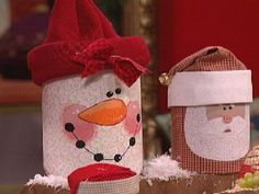 Coffee Can Snowman Or Santa-I think these would be easy to make....