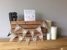 A personal favourite from my Etsy shop https://www.etsy.com/uk/listing/249925367/bride-groom-hessian-mini-bunting-wedding