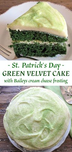 holiday desserts Green Velvet Cake with Baileys Cream Cheese Frosting is the perfect cake to celebrate St. A delicious moist cake with the perfect amount of that Irish Cream Whisky to take it over the top! Try it this year! Green Velvet Cake, Green Cake, Irish Cream, Pavlova, Holiday Desserts, Holiday Recipes, Green Desserts, Cupcakes, Cupcake Cakes