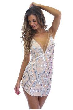 Nude Deep V Sequin Dress | #ustrendy www.ustrendy.com