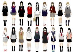 Various school uniforms including seifuku
