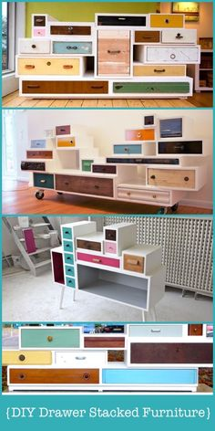 DIY Drawer Stacked Furniture- I have often thought about doing something like this with the random drawers I find at the dumpstore. Maybe one of these days...