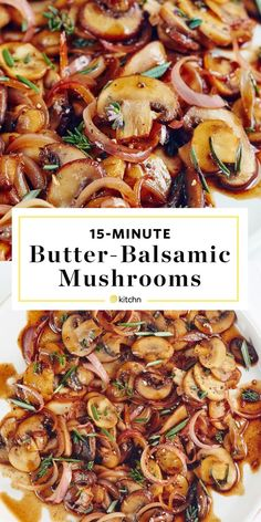 Buttered B Buttered Balsamic Mushrooms Recipe. Looking for ideas for side dishes for you steak dinner? These easy sauteed shrooms are easy and healthy! You'll need garlic rosemary thyme soy sauce brown sugar shallots. Side Dish Recipes, Vegetable Recipes, Beef Recipes, Vegetarian Recipes, Cooking Recipes, Healthy Recipes, Recipies, Bariatric Recipes, Sausage Recipes