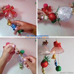 Manualidades para navidad adornos hechos a mano con materiales reciclados Christmas Bulbs, Diy, Holiday Decor, Home Decor, Crafts With Bottles, Creative Crafts, Handmade Ornaments, Christmas Post, Kids