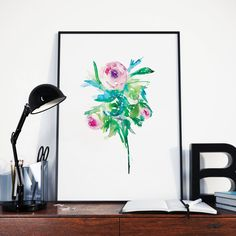 Beautifully painted with Watercolor PTP Flower Series 075 Pear Tea Paperie Original Flower Series Available Print Size Please choose between