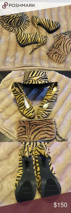 🌟🌟3 PIECE SET 🌟🌟 ⤵ lowered Calling all Fashionistas!  Tinley Road zebra stripe heels,  4 1/2 inch, size 8, Fedora hat,  and wristlet!  You provide the outfit and accessories. Tinley Road Shoes Heels