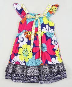 Fuchsia Floral Angel-Sleeve Dress - Infant, Toddler & Girls by Ruffles by Tutu AND Lulu #zulily #zulilyfinds