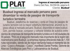 Busbud: Ingreso al mercado en el diario Del País de Perú (30/09/16)