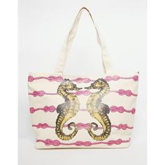Thursday Friday Canvas Beach Bag With Seahorse Print ($25) ❤ liked on Polyvore featuring bags, handbags, white, top handle bag, snap bag, white beach bag, beach tote bags and white purse