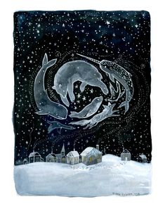 I would like a narwhal.and a whale and a polar bear and a seal and an arctic fox. When you see the northern lights and feel the cold then you can believe they are all magic creatures :) Illustrations, Book Illustration, Winter Illustration, Digital Illustration, Painting Inspiration, Art Inspo, Art Watercolor, Painting & Drawing, Art Paintings